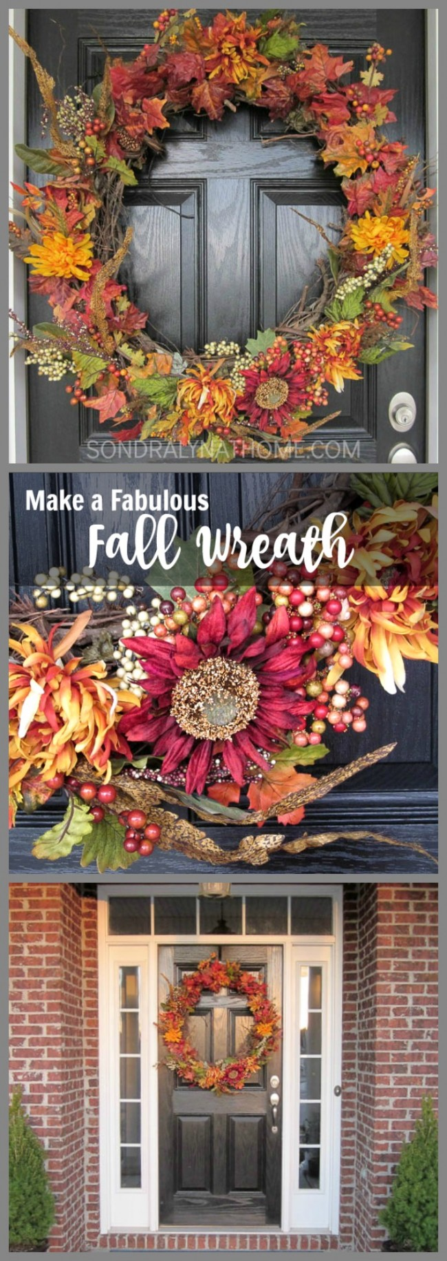 How to make the perfect Fall Wreath- collage - Sondra Lyn at Home.com
