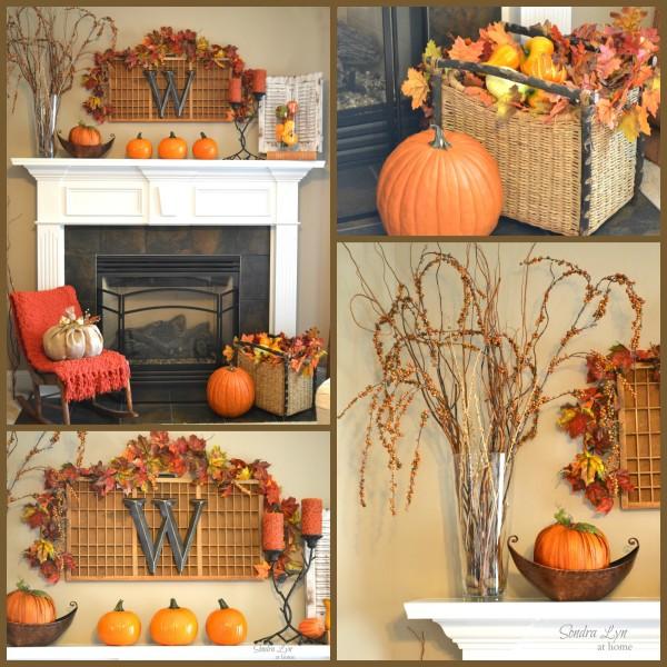 Cozy and colorful Fall Mantel - SondraLynAtHome.com