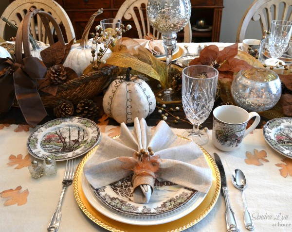 Rustic Glam Fall Tablescape with DIY napkin rings - Sondra Lyn at Home.com