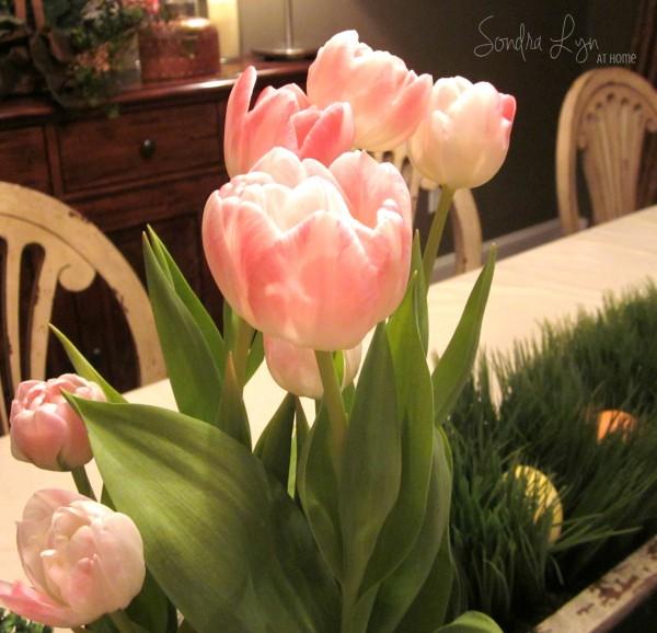 Easter Table Vignette-- Tulips- Sondra Lyn at Home