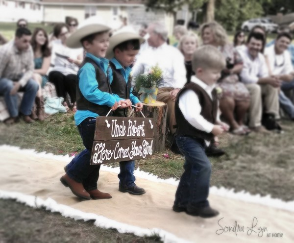 Ring Bearer Cuties with sweet sign-- A Country Wedding--Sondra Lyn at Home