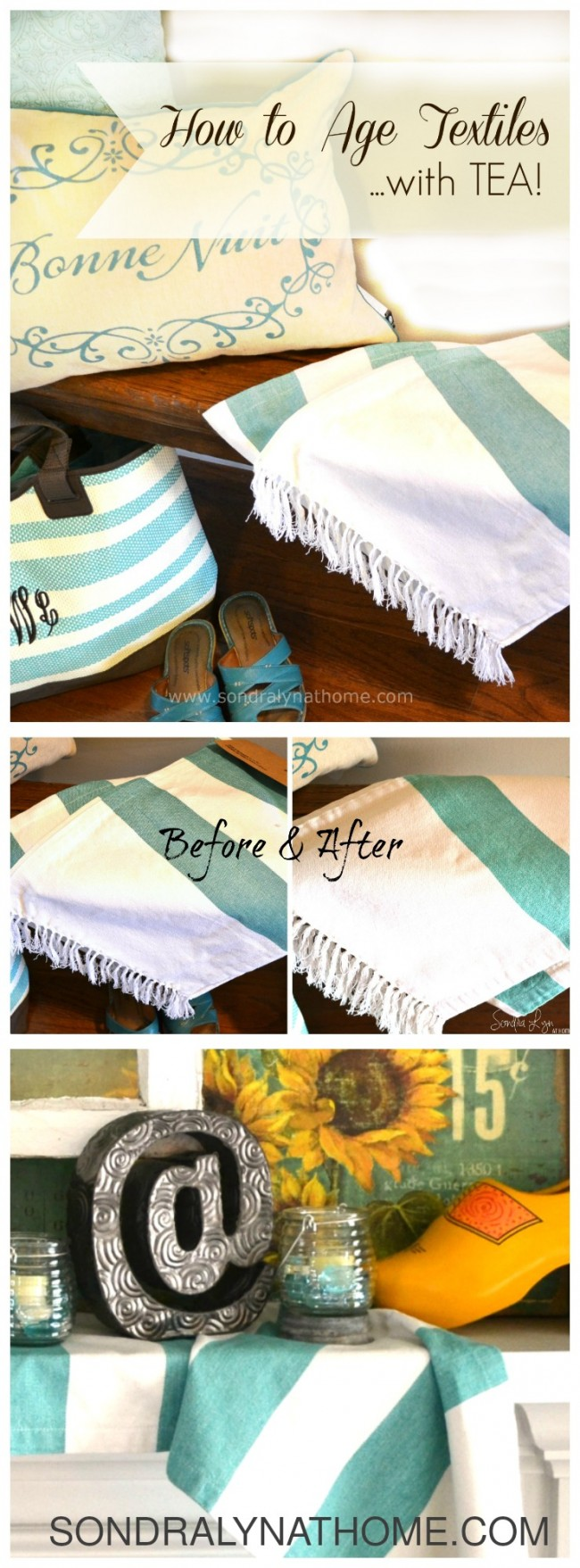 How to Age Textiles with Tea-Pinnable - Sondra Lyn at Home
