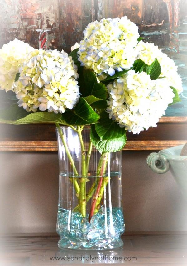 Hydrangea cuttings in vase- Sondra Lyn at Home