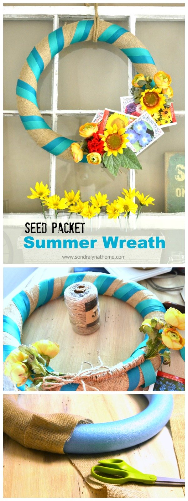Seed Packet Summer Wreath- from a pool noodle! Sondra Lyn at Home