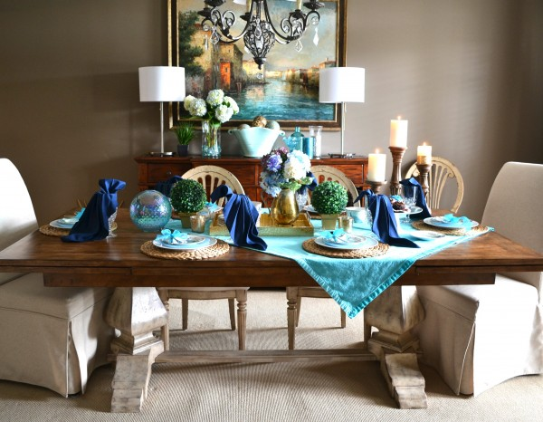 Summer Peacock Tablescape-- Sondra Lyn at Home