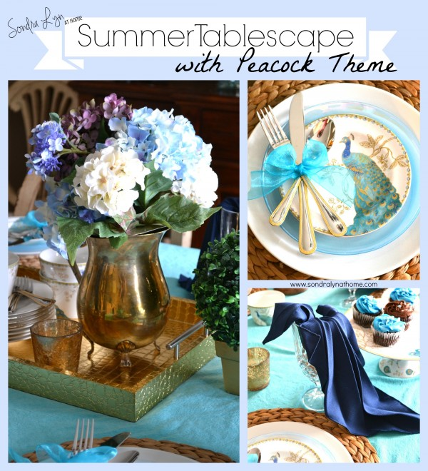 Summer Tablescape with Peacock Theme-
