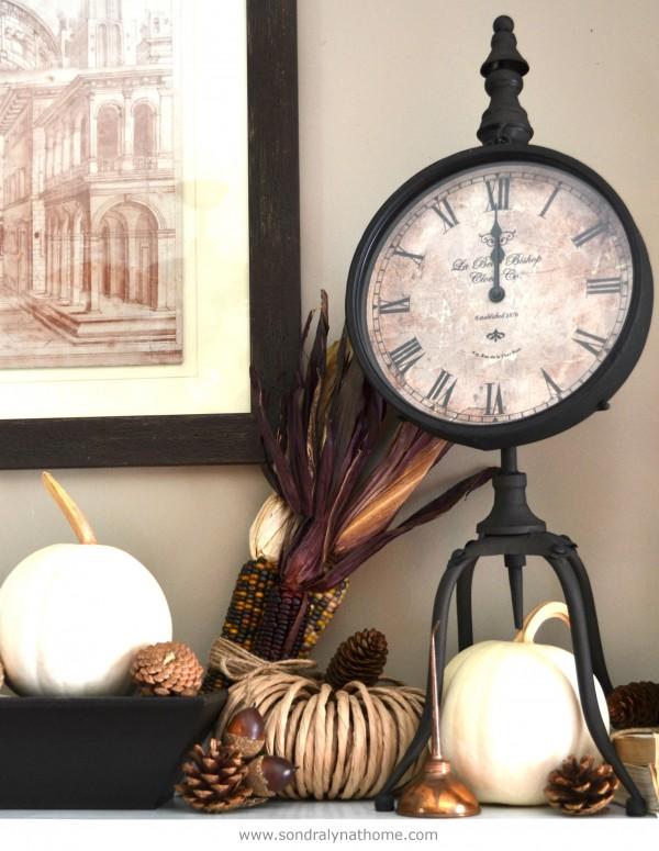 Vintage Fall Mantel Iron Clock Vignette- Sondra Lyn at Home