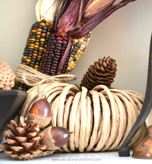 Vintage Fall Mantel - using Indian Corn and other natural elements- Sondra Lyn at Home
