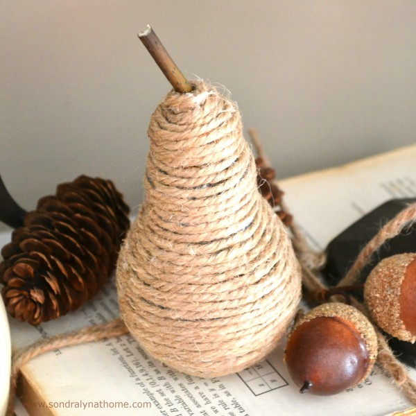 Make a Twine Pear - from an old-fashioned light bulb - Sondra Lyn at Home