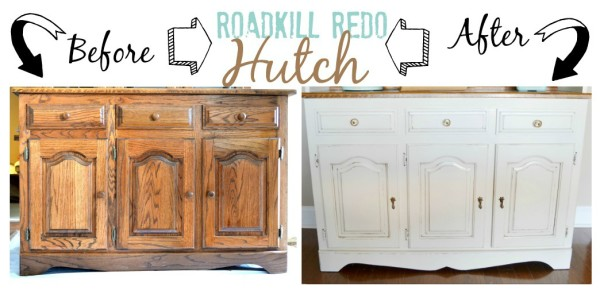 Chalk Painted Hutch Before and After -- Sondra Lyn at Home-w