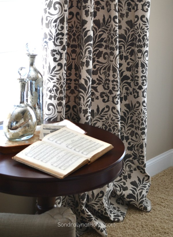 How to Stencil Drop Cloth Curtains by Sondra Lyn at Home