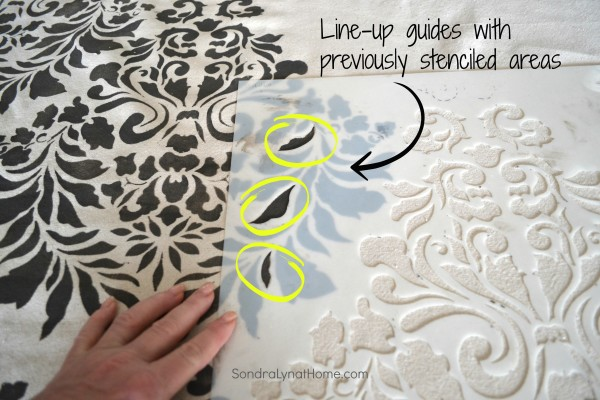 The Stenciling Process - Drop Cloth Curtains- Sondra Lyn at Home