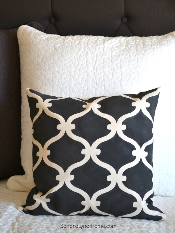 Stenciled pillow - Sondra Lyn at Home