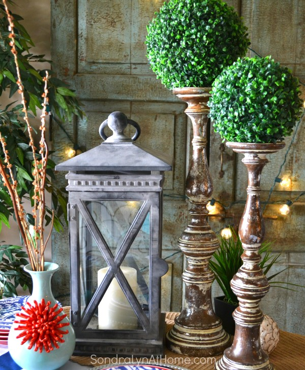 Balsam Hill Lantern and Candlesticks -- Sondra Lyn at Home