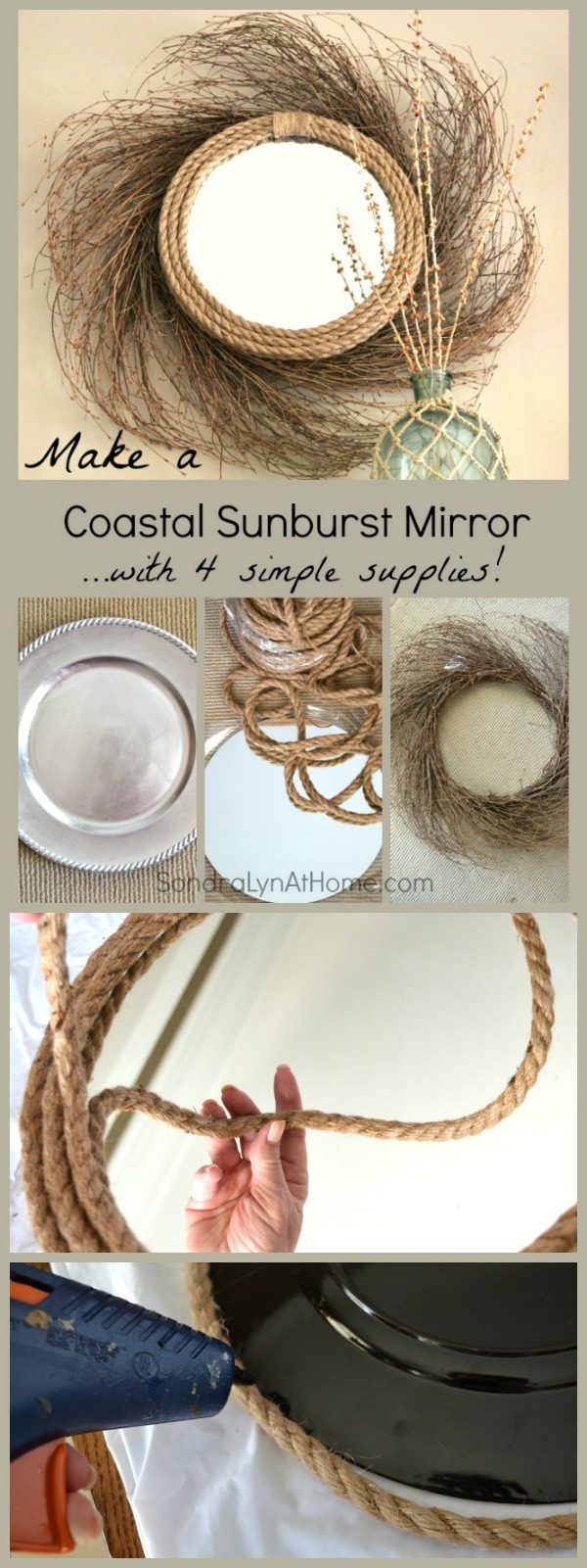 Make a Sunburst Mirror with a Coastal Vibe using 4 simple materials and a glue gun! - Sondra Lyn at Home.com