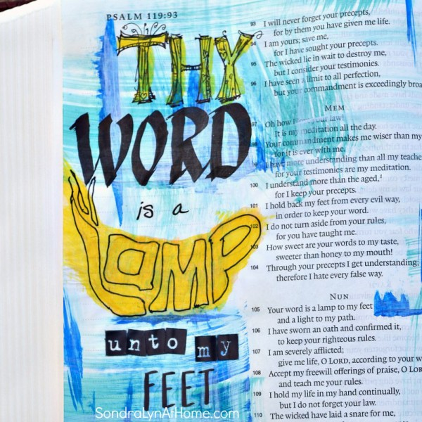 Bible Journaling - Thy Word page - Sondra Lyn at Home.com