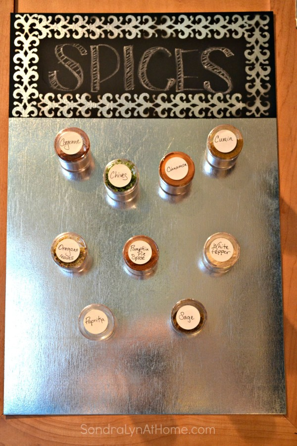 DIY Magnetic Spice Board --- Sondra Lyn at Home