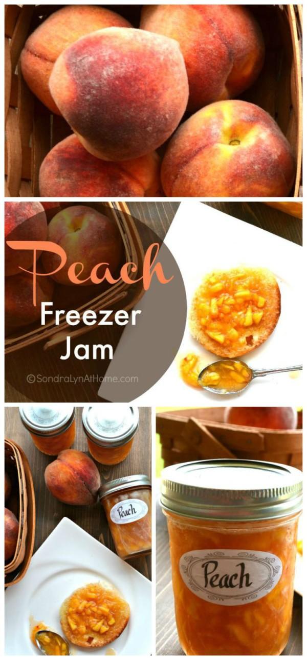 Peach Freezer Jam -- Sondra Lyn at Home.com Pinnable image