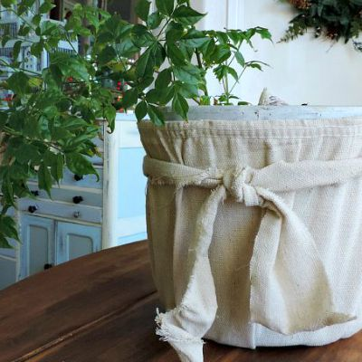 Anthropologie Inspired Drop Cloth Pot - What Meegan Makes.com