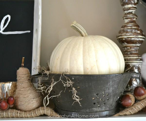 Fall Mantel 2015 -detail - Sondra Lyn at Home.com