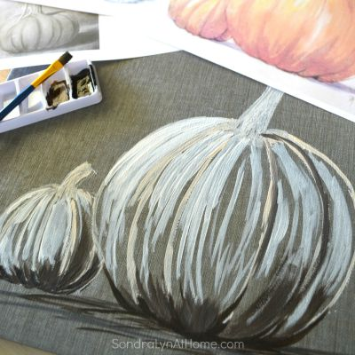 Fall Pumpkin - Acrylic on Tile - thumbnail - Sondra Lyn at Home.com