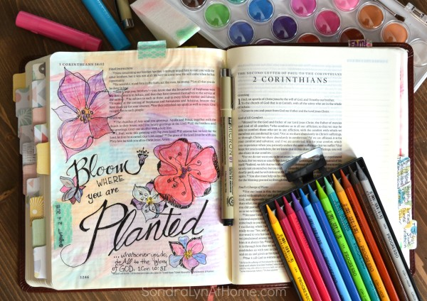 'Bloom-Where-You're-Planted' Bible Journaling Page - Sondra Lyn at Home.com