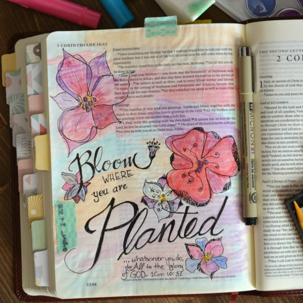 Bloom Where You're Planted journaling page-Sondra Lyn at Home