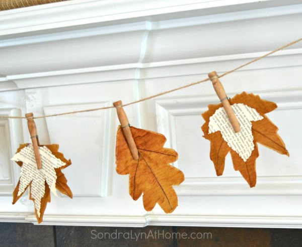 Fall Leaf Banner with Bookpage Leaves - Sondra Lyn At Home.com