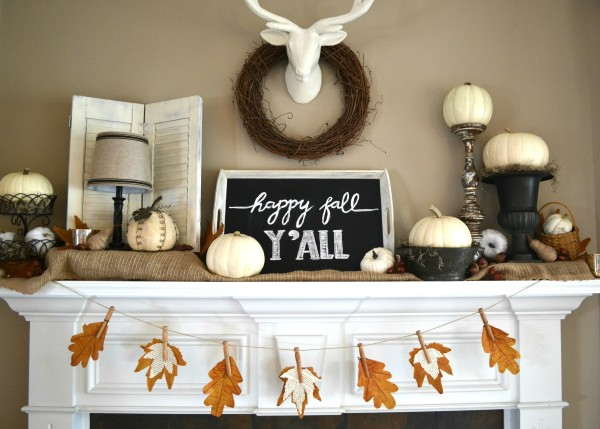 Fall Mantel with Fall Leaf Banner - Sondra Lyn At Home.com