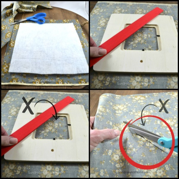 DIY Fabric Photo Frame - finding center and cutting - 736x736 -Sondra Lyn at Home.com