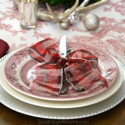 Merry and Toile Tablescape - Place Setting with Churchill Willow Rosa china - from Sondra Lyn at Home