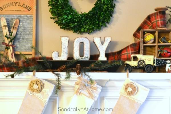 20-Minute Vintage Christmas Mantel - JOY letters - Sondra Lyn at Home