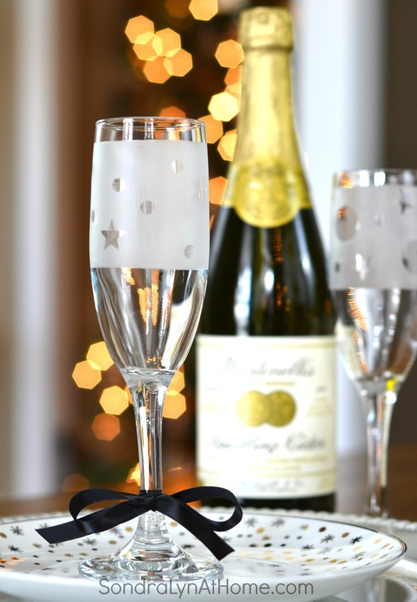 Etched Glass Champagne Flute Party Favors - Sondra Lyn at Home.com