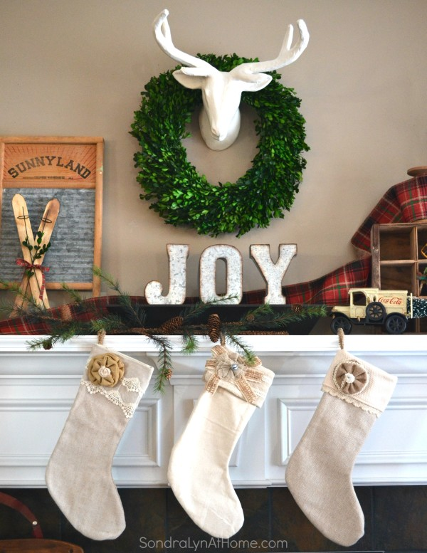 Family Room at Christmastime - Mantel focal - All Through the House Tour - Sondra Lyn at Home