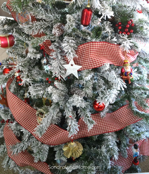 Family Room at Christmastime - Tree Detail - All Through the House Tour - Sondra Lyn at Home