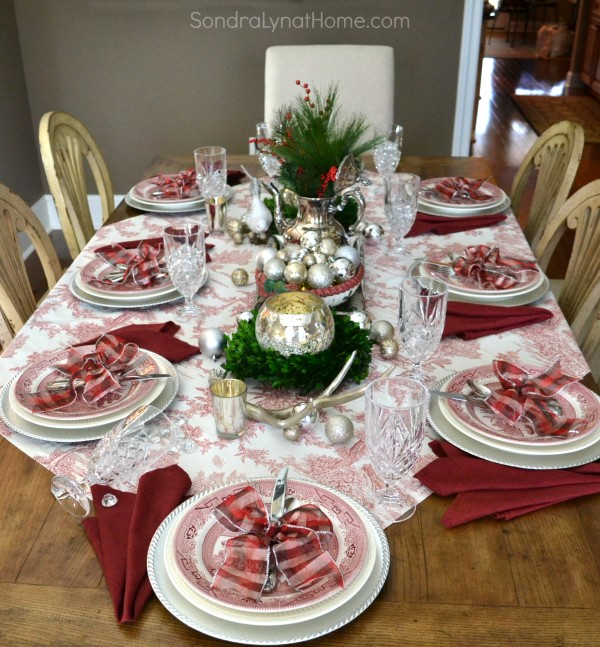 Merry and Toile Holiday Tablescape with Churchill Willow Rosa china -- from Sondra Lyn at Home
