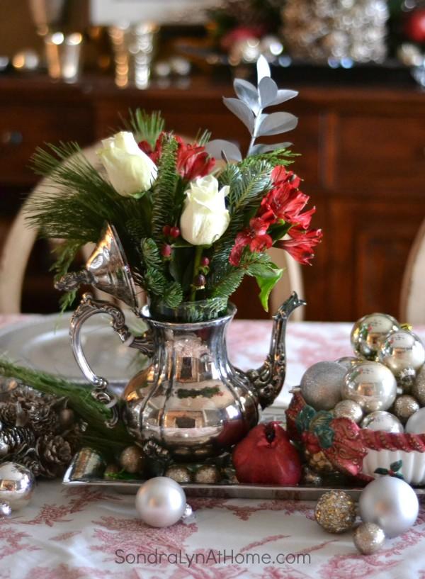 Silver Teapot Flower Arrangement - Sondra Lyn at Home