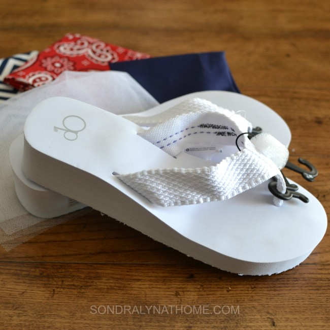 Red White Blue Scrappy Flip Flops - Sondra Lyn at Home.com