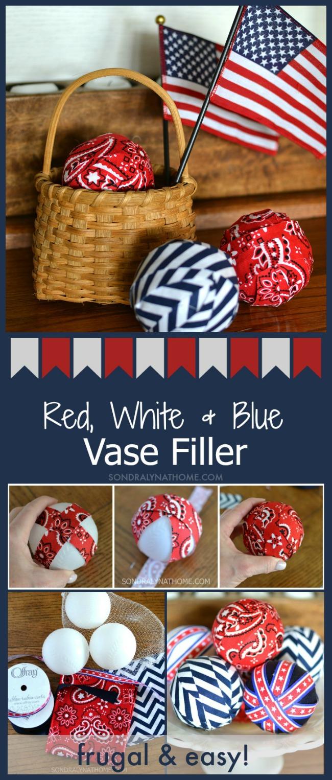 Red White Blue Vase Filler Fabric Balls - SondarLynAtHome.com