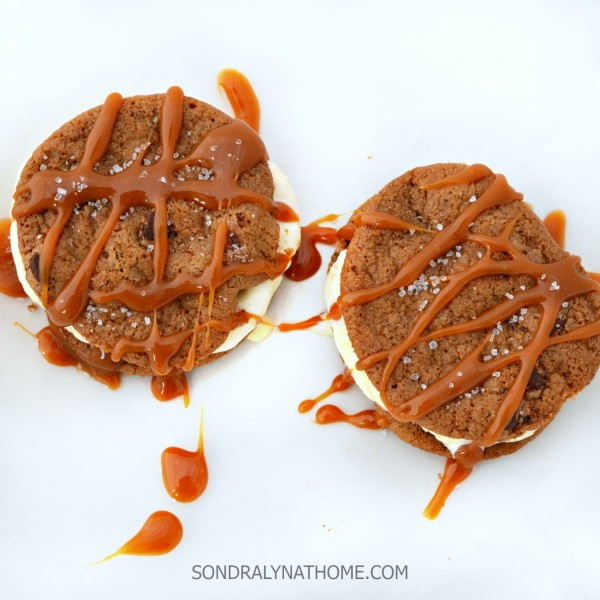 Salted Caramel Ice Cream Sandwiches on waxed paper - Sondra Lyn at Home.com