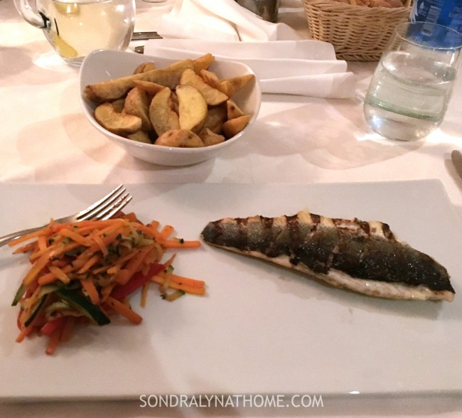 Eating My Way Through Europe -Croatia-Bajamonti- Sea Bass Plate- Sondra Lyn at Home.com