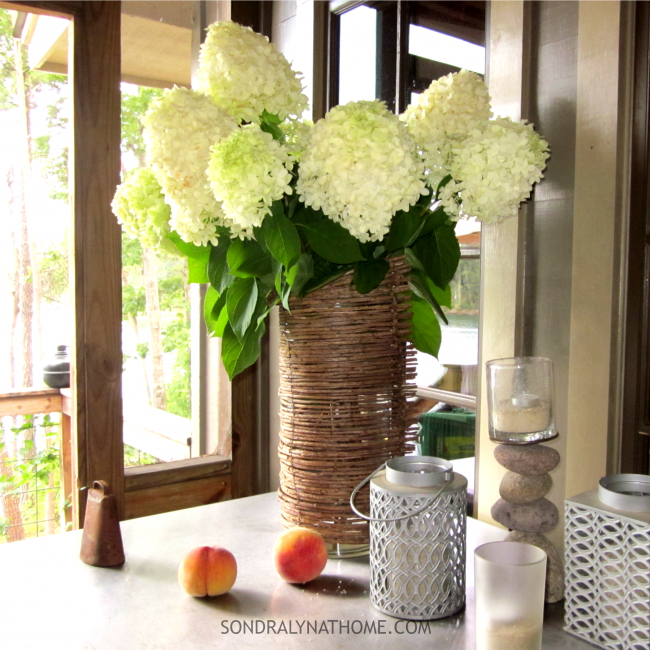 Hydrangeas and Peaches by the Screen Door -close up- Sondra Lyn at Home.com