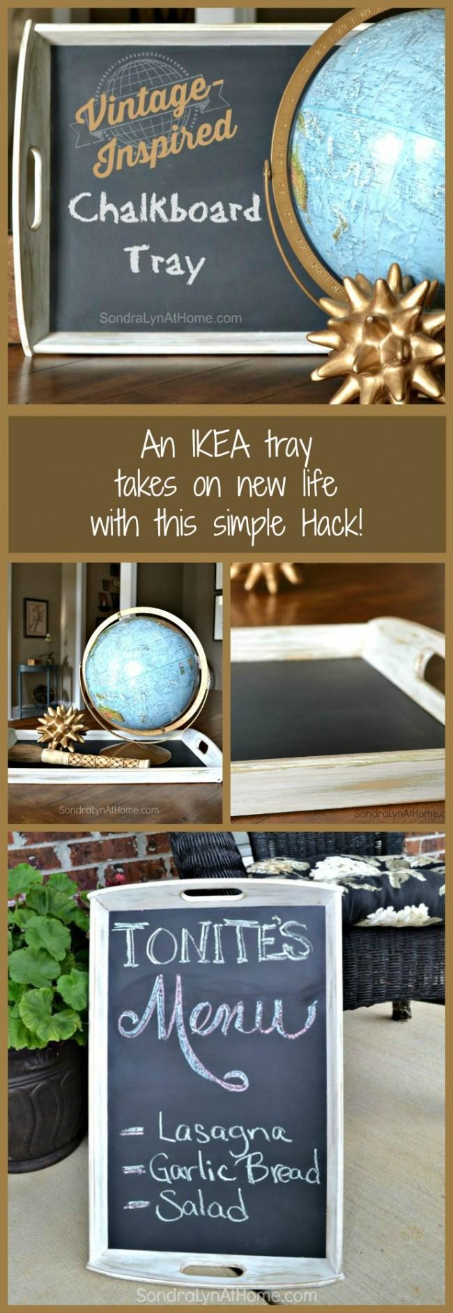 IKEA Hack Chalkboard Tray - - SondraLynAtHome.com