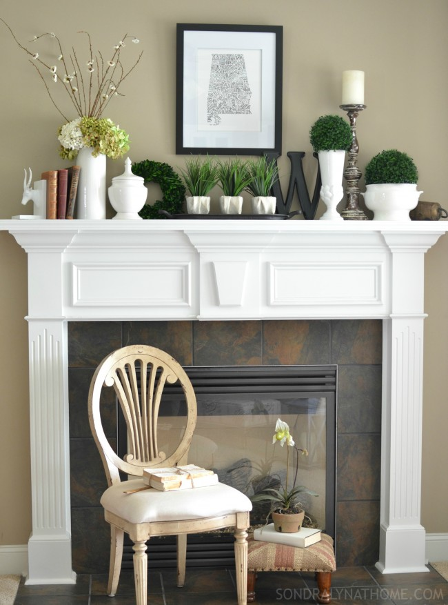 Late Summer Mantel with 'state art', antique books, botanicals and white ware - Sondra Lyn at Home