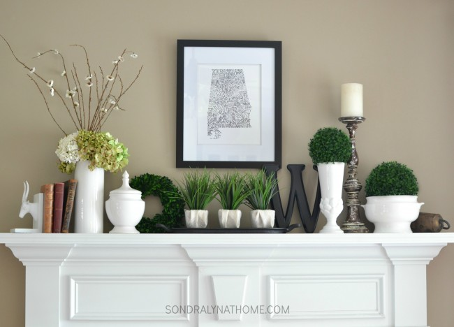 Late Summer Mantel with state art, antique books, botanicals and white ware -- Sondra Lyn at Home.com
