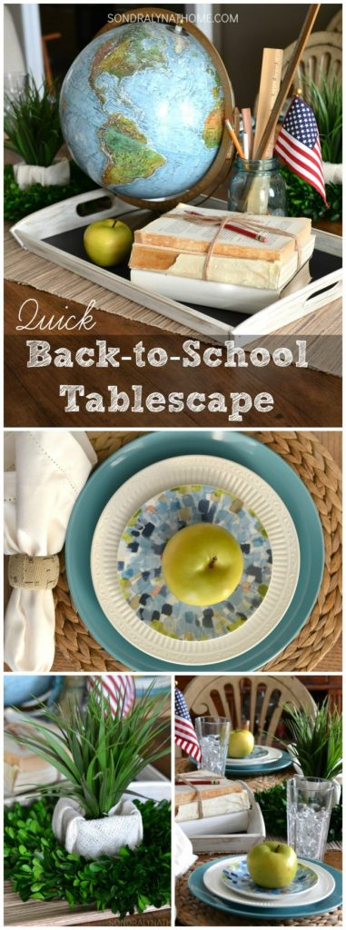 Quick Back-to-School Tablescape Centerpiece- featuring globe, books, rulers and apples - pinnable - Sondra Lyn at Home.com