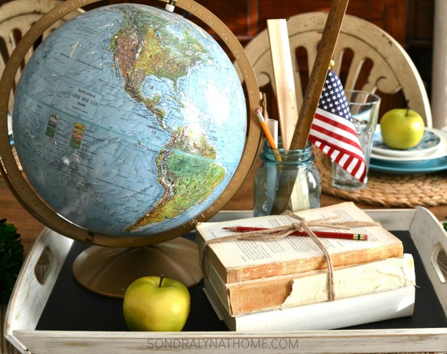 Quick Back-to-School Tablescape Centerpiece- featuring globe, books, rulers and applesSondra Lyn at Home.com