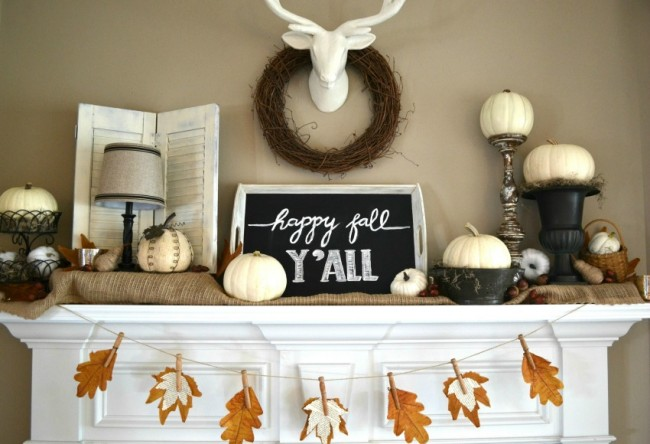 Fall Mantel with bookpage leaf banner -- Sondra Lyn at Home.com
