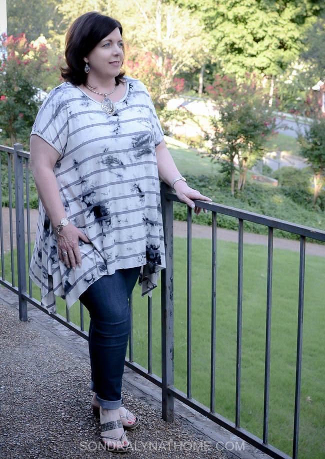 Fashion Friday Outfit - Tunic, Jeans and Shaper - Sondra-Lyn-at-Home.com