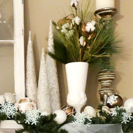 winter-white-christmas-mantel-with-cotton-in-vase-close-up-sondra-lyn-at-home-com